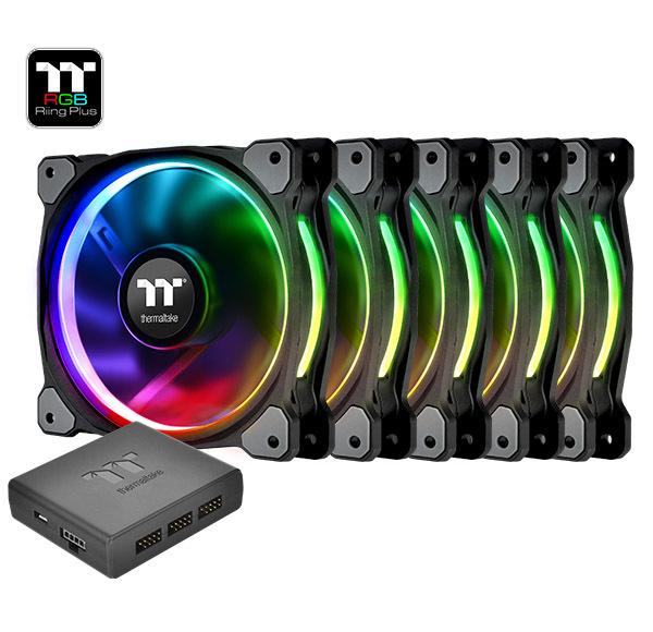 140mm Thermaltake: Riing Plus Radiator Fan - RGB TT Premium Edition (5 Pack)