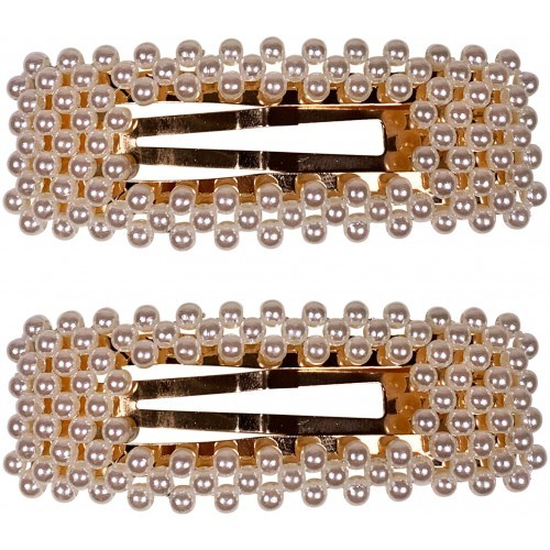 Pearl Gold Square Hair Clip