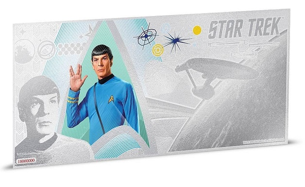 NZ Mint: Star Trek - Silver Coin Note - Commander Spock 2018 (5g Silver)