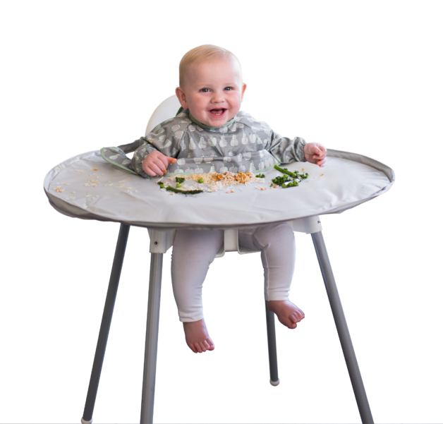 Tidy Tot: Bib & Tray Kit - Dove Grey