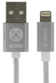 Moki Braided Lightning SynCharge Cable - Silver 10cm
