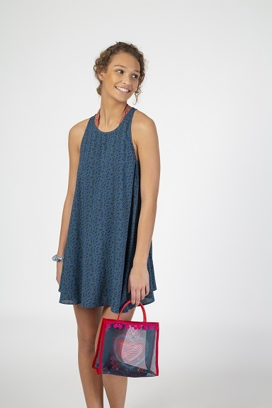 Natural Life: Swing Dress - Dusty Blue Calico (Large)