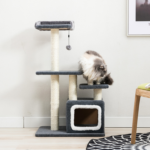 Cat Tree (4 Levels) With Snuggle Cube 1M Charcoal / White