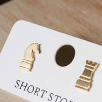 Short Story: Funky Play Earrings - Gold Checkmate