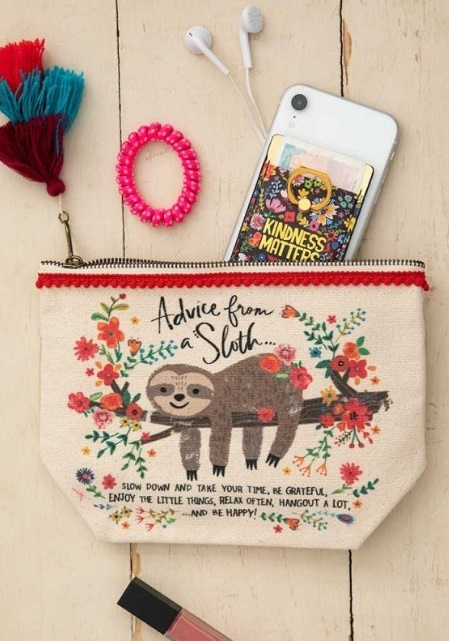Natural Life: Canvas Cosmetics Pouch - Advice From A Sloth