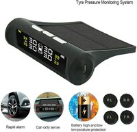 Wireless Solar Power Tire Pressure Monitoring System - Black