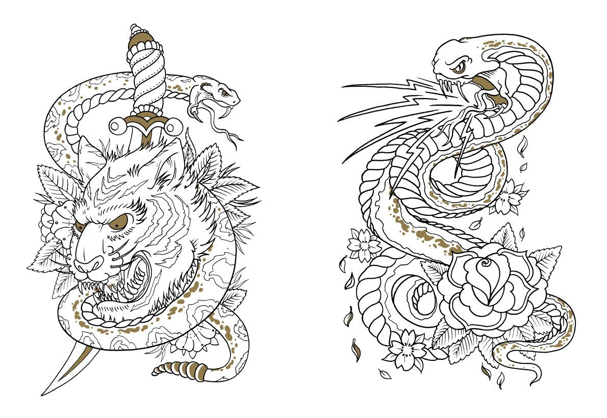 It is a graphic of Astounding Tattoo Coloring Books