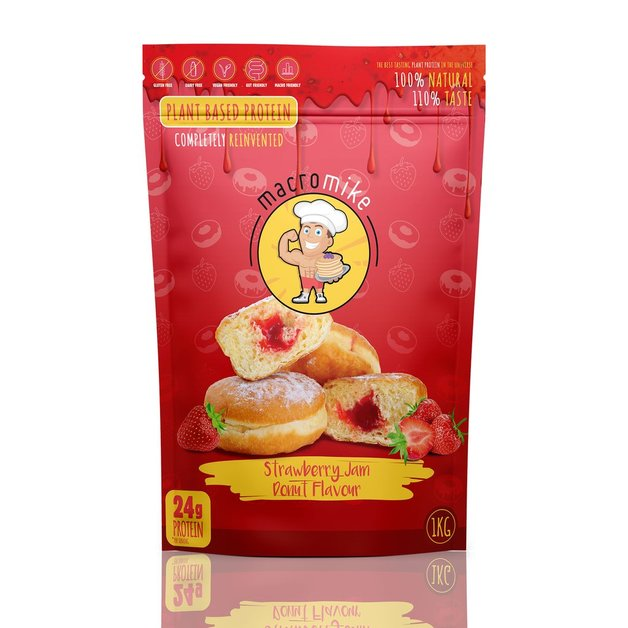 Macro Mike Plant Protein Powder - Jam Donut (1kg)
