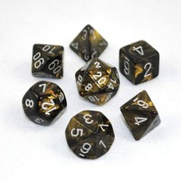 Chessex Signature Polyhedral Dice Set Leaf Black Gold/Silver