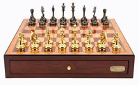 "Dal Rossi: Staunton Brass/Titanium - 18"" Chess Set (Red Mahogany)"