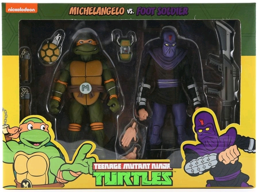 TMNT: Action Figure 2-Pack - Michelangelo vs Foot Soldier image