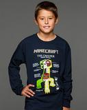 Minecraft Creeper Anatomy Youth Long Sleeved Shirt (Large)