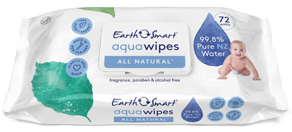 EarthSmart: Aqua Baby Wipes - All Natural (72 pack)