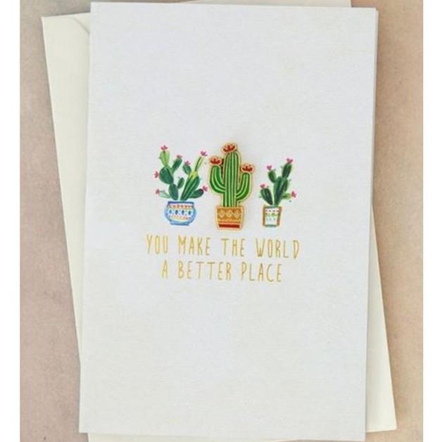 Natural Life: Enamel Pin On Card - World Cactus