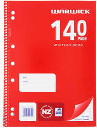 Warwick A4 Spiral Writing Book (140 Pages)