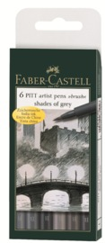 Faber-Castell: Pitt Artist Pens B Shades of Grey (Wallet of 6)