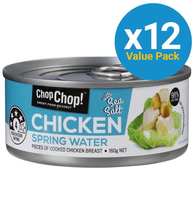 Chop Chop: Chicken Chunks - Springwater & Sea Salt (160g x 12)