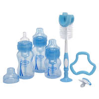 Dr Brown: Wide Neck Gift Set - 3 Bottles, Pacifier, Teether, Bottle Brush (Blue)