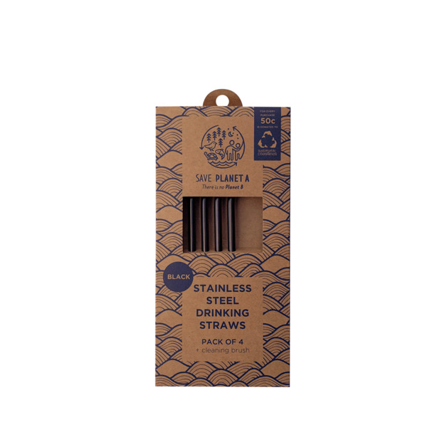 Black Stainless Steel Drinking Straws (4 Pack + Brush)
