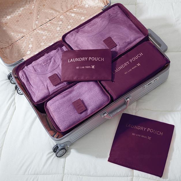 Jet Set 6Pc Travel Organiser Packing Cube Set - Burgundy