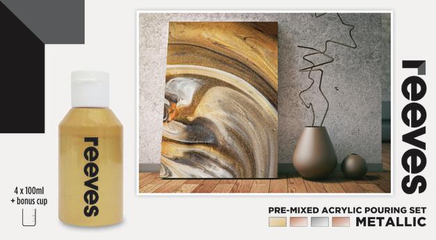 Reeves: Pre-Mixed Acrylic Pour Paint - Metallic (Set 4 /100ml)