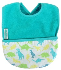 Silly Billyz Fleece Pocket Bib (Aqua Dinosaur)