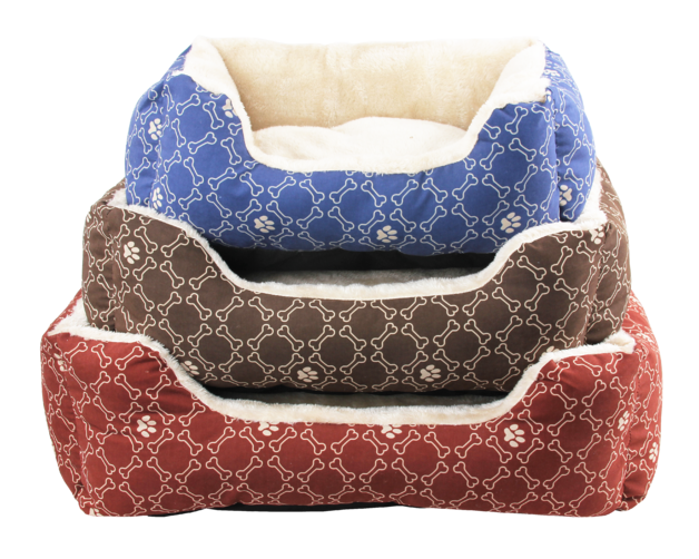 """Pawise: Square Dog Bed - Blue/22"""""""