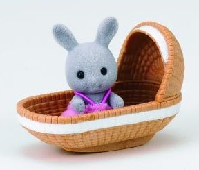 Sylvanian Families: Rabbit Baby with a Crib