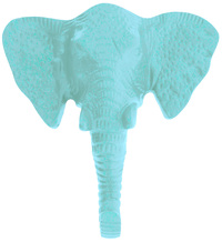 Pretty Pastels: Elephant Head Wall Hook - Blue image