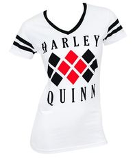 DC Comics: Harley Quinn Diamonds V-Neck T-Shirt (Medium)