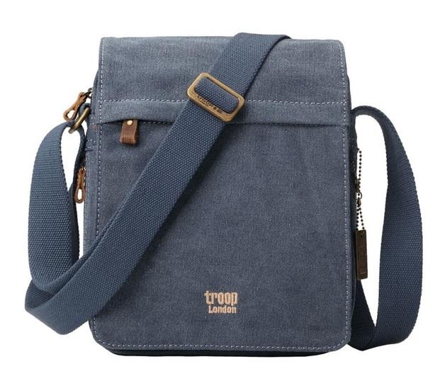 Troop London: Classic Flap Front Shoulder Bag - Blue