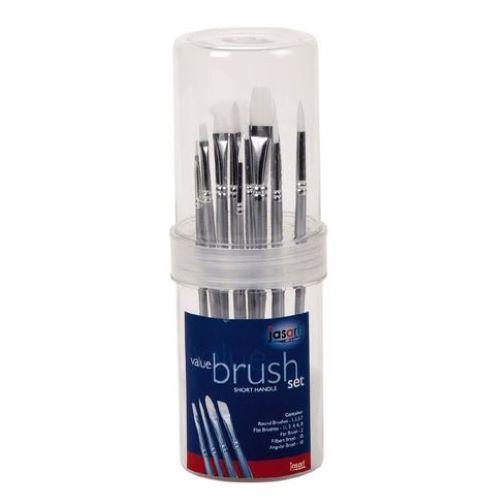 Jasart: Short Handle Brush Tube - Synthetic White