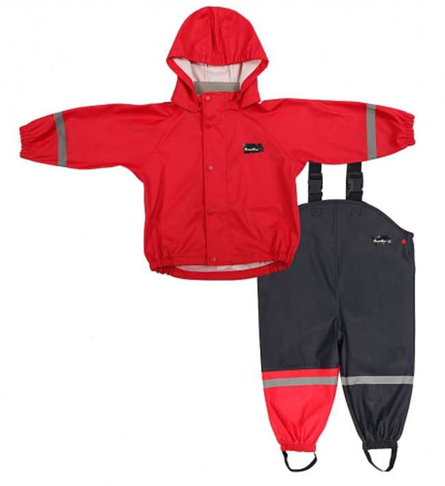 Mum 2 Mum Rain Wear Jacket and Overalls - Red (2 Years) image