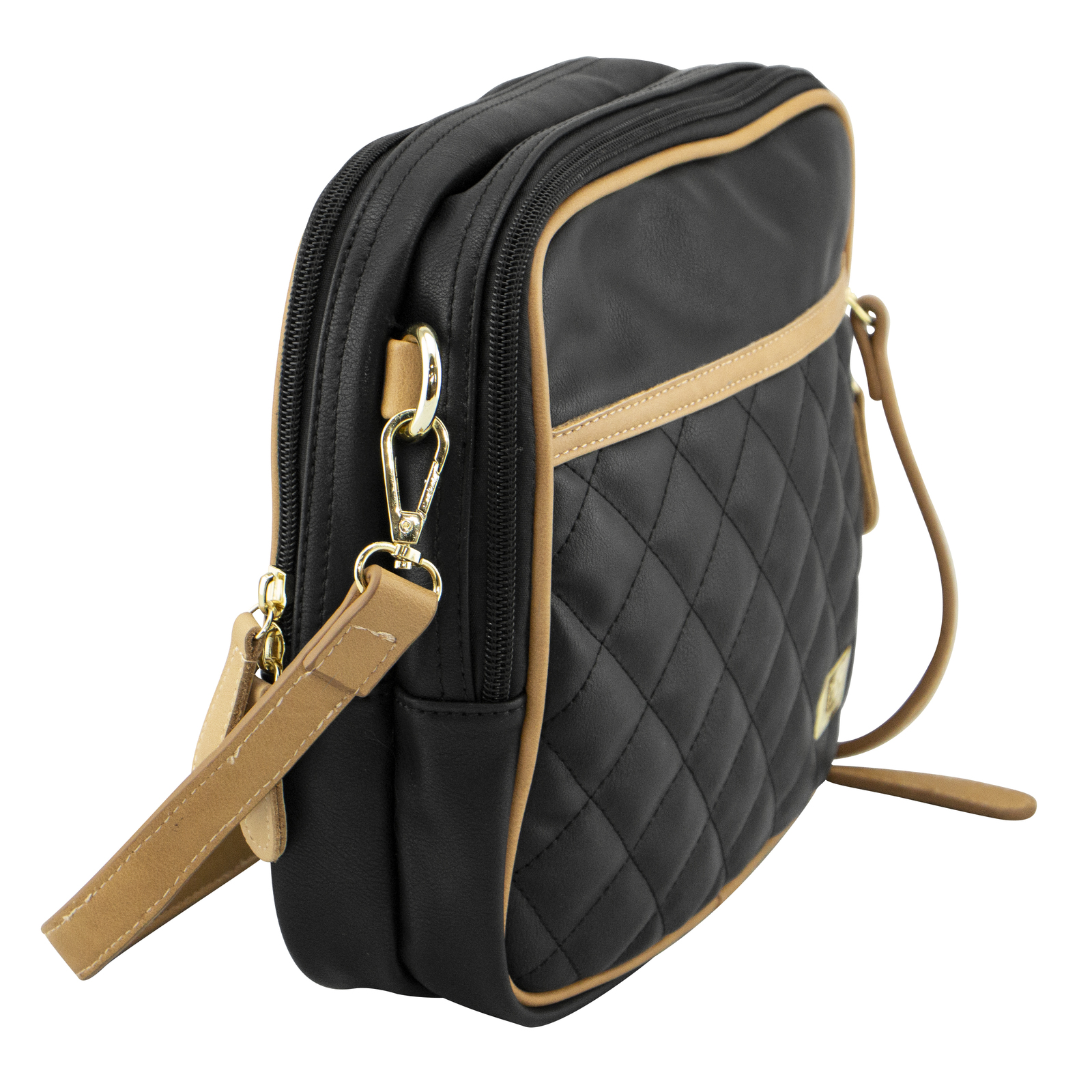 Isoki: Nappy Bag Finley Crossover Bag - Black/Tan Quilted image