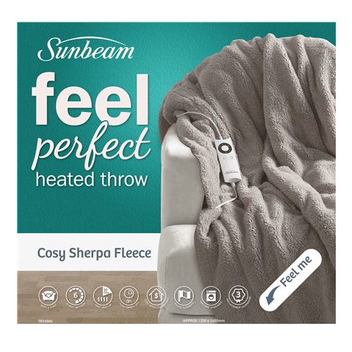 Sunbeam: Feel Perfect® Cosy Sherpa Fleece Heated Throw