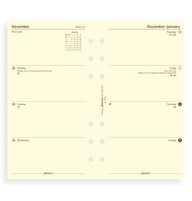Filofax: Personal 2020 Refill - Week on Two Pages - Cotton Cream (Unlined)