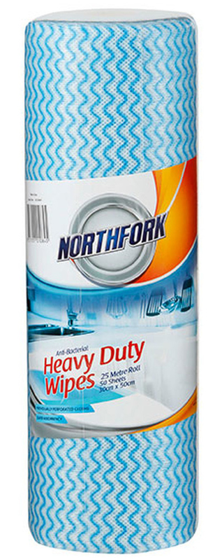 Northfork Heavy Duty Antibacterial Perforated Wipe - Pack of 50