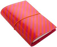 Filofax - Personal Domino Organiser - Patent Orange & Pink Stripes