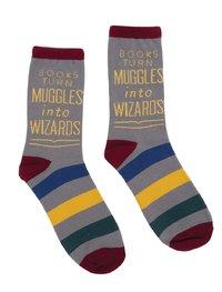 Out of Print: Books Turn Muggles - Men's Crew Socks
