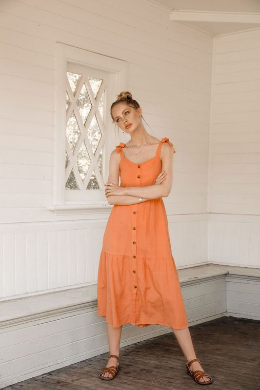 Midsummer Star: Clementine Dress - Large (Coral)