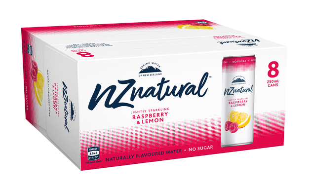 NZ Natural Raspberry & Lemon Sparkling Water 250ml (8 Pack)