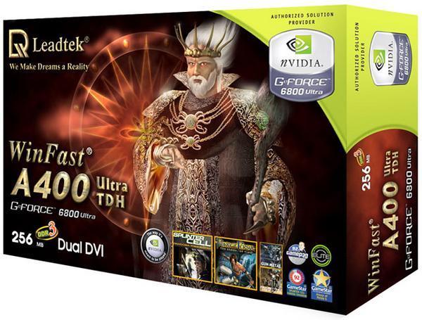 Leadtek Graphics Card WinFast A400 Ultra TDH 256M 6800 AGP