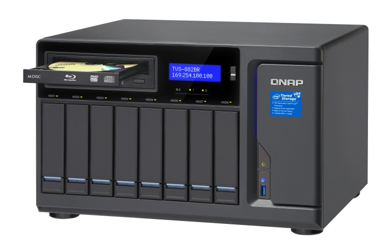 QNAP TVS-882BR-I7-32G, 8BAY NAS(NO DISK),16G,I7-7700,USB,ODD(0/1),GbE(4),M.2(2)TWR,2YR image