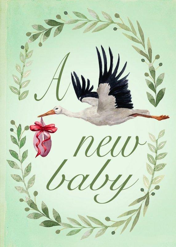 Madam Treacle: The Stork's Visit Baby Card