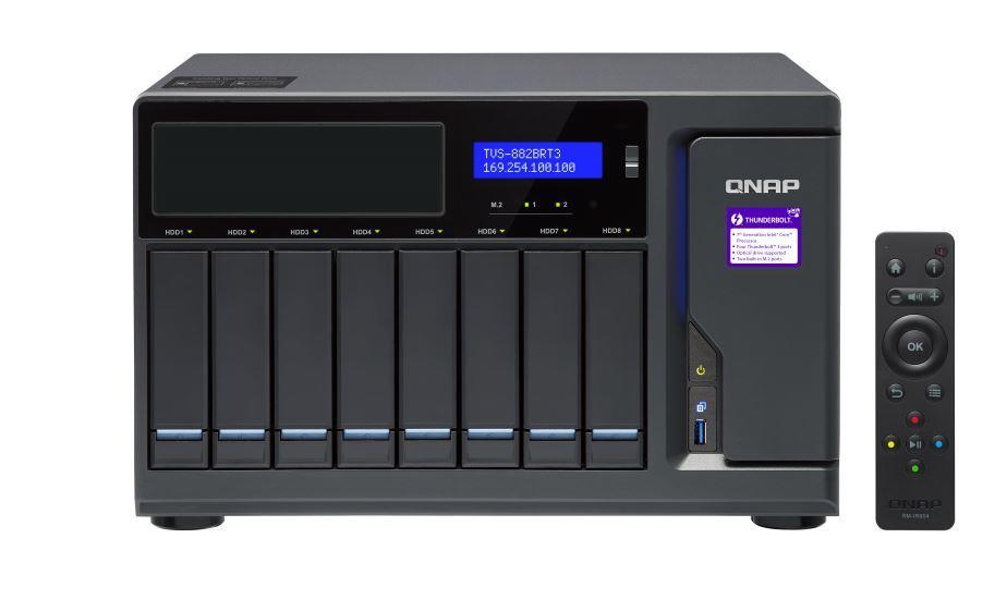 Qnap Tvs-882Brt3-Odd-I7-32G 8-Bay Nas (No Disk), 1 X Blu-Ray , 4 X Thunderbolt3 S, Core™ I7-7700 3.6 Ghz, 32Gb, 250W image