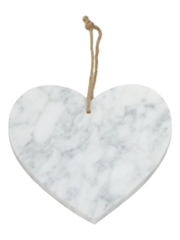 Cina Marble Heart Decoration - White (16cm)