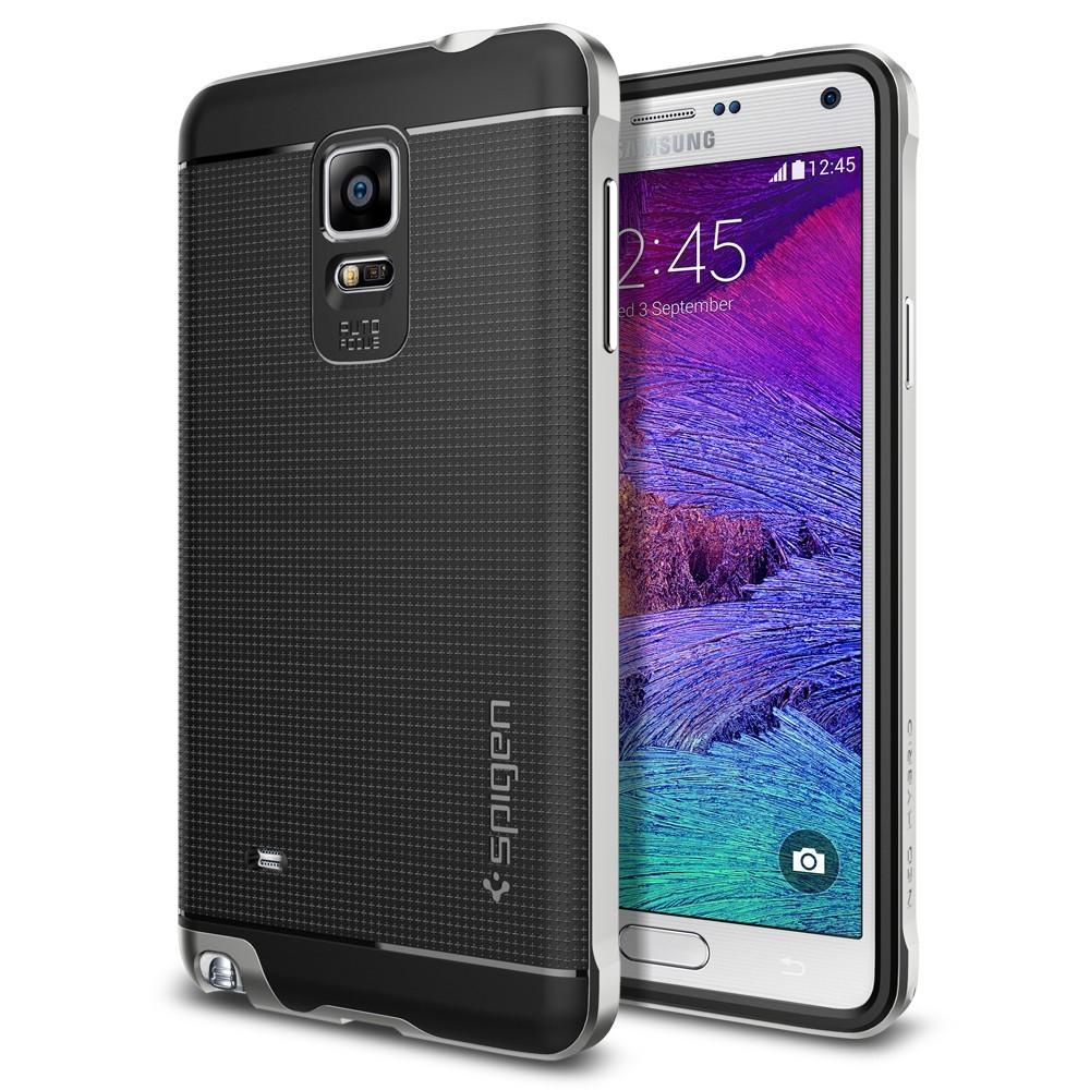Spigen Neo Hybrid Case For Galaxy Note 4 Satin Silver At Mighty Ultra S8 Jet Black Image