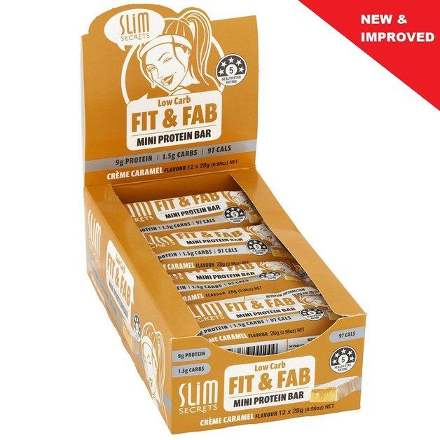 Slim Secrets Fit & Fab Low Carb Mini Protein Bar - Creme Caramel (12x28g)