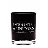 Wish I Was A Unicorn Candle (Large, Black)