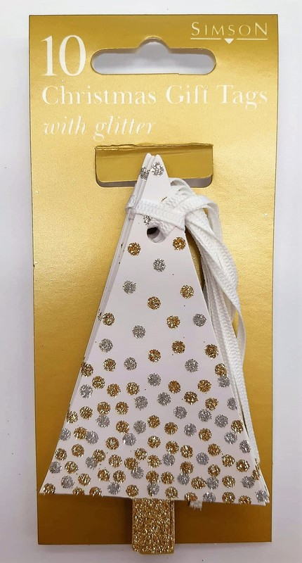 Christmas Tree Gift Tags with Glitter (10 Pack)